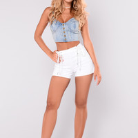 In The Navy Shorts - White