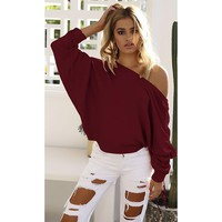 Autumn Women Pullover 2017  Cheap Camisolas Elegant Office Lady Casual Leaking Shoulder Women Sweater WS1839Y