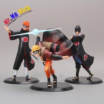 Naruto Sasauke ninja  3pcs/set Japanese Anime  Hatake Kakashi Sasori Action figure 17-19cm model collection gift hot cute figurine doll AT_81_8