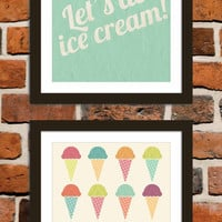 Ice cream poster print set of two: Let's do ice cream