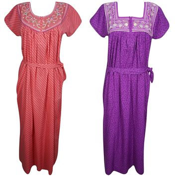 Lot Of 2 Renata Womens Maxi Dress Caftan Neck Embroidered Tie Waist Cotton Summer Nightgown L: Amazon.ca: Clothing & Accessories