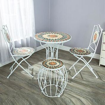 Cafe, wrought iron courtyard outdoor outdoor Mosaic tables and chairs, tea table
