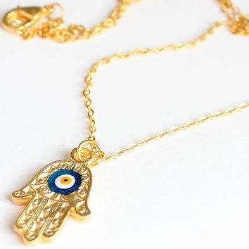 NEW COLLECTION Hamsa necklace evil eye necklace gold plated chain dainty necklace istanbul turkey best friend birthday gift