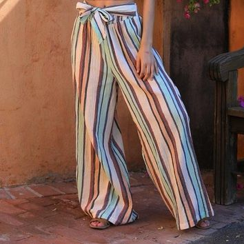 Angie Sheer Stripe Wide Pants - Multi
