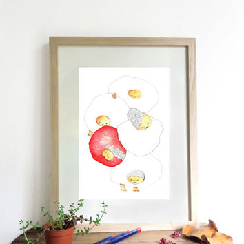 Art illustration print A4, original drawing,home decor, kids room decor, original newborn baby gift, pencil drawing, art illustrated poster