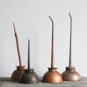 vintage oil can collection / industrial decor / antique oil can spouts