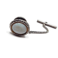 Vintage Tie Tack, White Tie Tack, Imitation Opal, Silver Tone Oval, Retro 1980s 80s, Glass Cab, Wedding Formal, Best Man Groom Gift