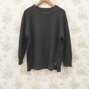 Front side-zip accent round neck drop shoulder sweater