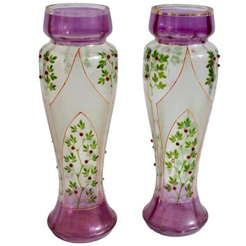 Beautiful Art Nouveau Glass Decorative Vases, with Stained-Glass Decorations