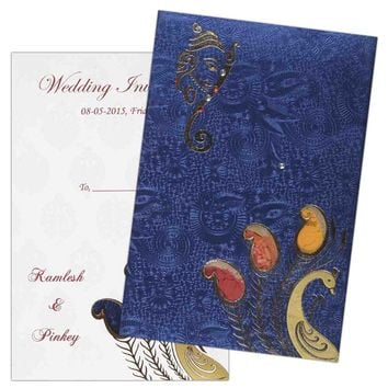 Ganesha and Peacock invitation card on Metallic blue - KNK1256