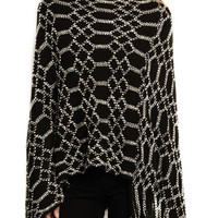 Diamond Pattern Knit Poncho