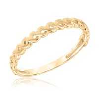 Small Twist Yellow Gold Stackable Ring