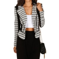 Promo-houndstooth Zip Jacket