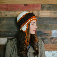 Ear flap hat, women, men, teen, unisex, orange, brown, fall, winter, crochet