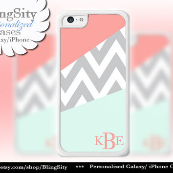 Coral Mint Chevron Monogram iPhone 5C case, 5 iPhone 4 Case, iPhone 5S Ipod 4 5 Case Gray Grey Chevron Block Personalized Gift