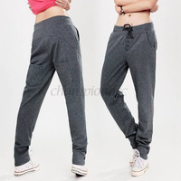 DorpShipping New Casual Women Pencil Sweat pants Straight Sports Harem Hip-Hop Pants 2 Colors SV16 CB029034