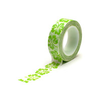 Queen and Co: Green Hibiscus Flower Washi Paper Tape, 15mm x 10 yards