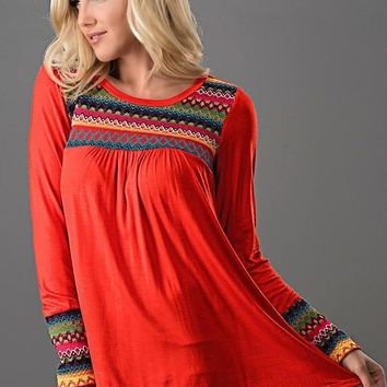 Embroidered Long Sleeve Top - Orange