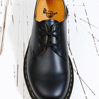 Dr Martens Black Smooth 3 Eyelet Shoes at Urban Outfitters