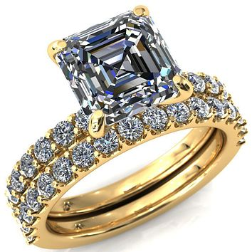 Mylene Asscher Moissanite 4 Prong Sculptural Half Eternity Diamond Engagement Ring