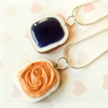 grape peanut butter and jelly best friend necklaces