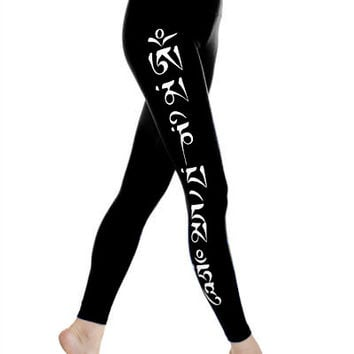 High Performance Om Mani Padme Hum Lapis Black Yoga Leggings
