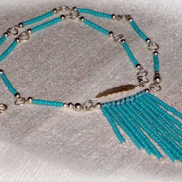 "Seed Bead Fringe Necklace In Turquoise And Silver, Turquoise Seed Bead Necklace, Tassel Necklace ""Classic Turquoise"", Boho SILVER Collection"