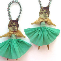 Set of 2 Cat Ornaments - Chenille Ornaments