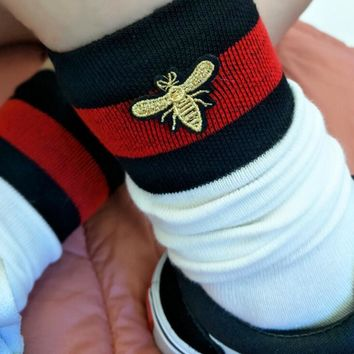 One-nice™ Red and black striped bee embroidery In tube socks Socks and knee socks