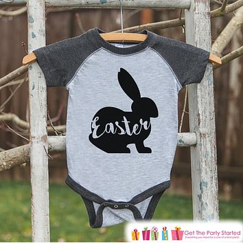 Kids Easter Outfit - Easter Bunny Shirt or Onepiece - Bunny Silhouette Easter Egg Hunt Shirt - Baby, Toddler, Youth - Happy Easter - Grey