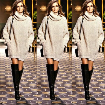 New Year Fashion Trendy Women Pullover Turtleneck Knitwear Knitted Long Sleeves Sweater Dress Autumn Fall Winter Outfit Outwear