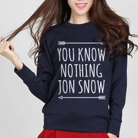 You Know Nothing Jon Snow print Game of Thrones fashion women sweatshirt hoodies slim harajuku hipster long sleeve tracksuit