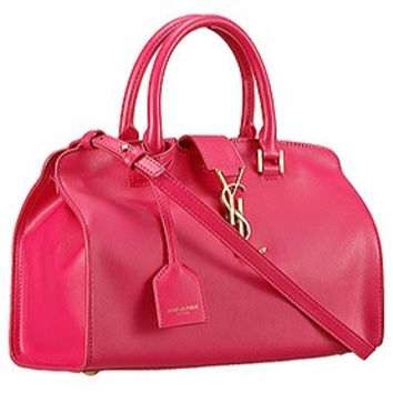 Saint Laurent Monogram Cabas Small Leather Bag Fuchsia