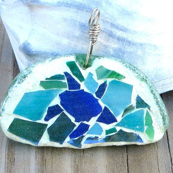 Turtle Mosaic Necklace Genuine Green Beach Glass Pendant