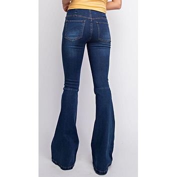 Denim Washed Pull On Flare Jeans