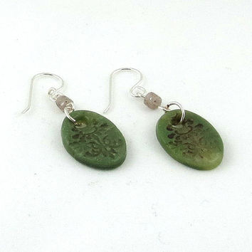 Green Dangle Earrings Oval Jade Earrings Faux Jade Olive Green Polymer Clay Jewelry Eco-Friendly Recycled Sterling Silver Beige Heishi Beads