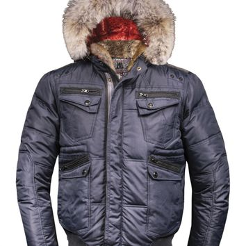 M. Benisti Down-Filled Bomber Jacket With Coyote And Rabbit Fur - Point Zero
