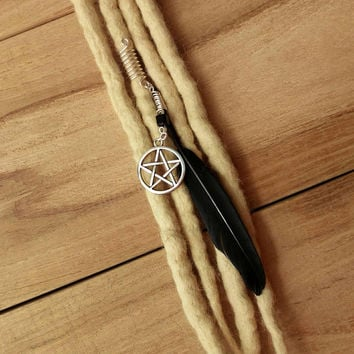 Witch jewelry,dreadlock beads, loc cuffs, wicca dreads, black feather, pentagram, gothic jewelry, dark fashion, dread bead