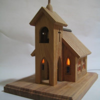 Lovely Church with Stained Glass Windows Room Lamp made from Japanese Timber
