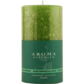 Vitality Aromatherapy VITALITY AROMATHERAPY ONE 2.75 X 5 inch PILLAR AROMATHERAPY CANDLE. USES THE ESSENTIAL OILS OF PEPPERMINT & EUCALYPTUS TO CREATE A FRAGRANCE THAT IS STIMULATING AND REVITALIZING.  BURNS APPROX. 75 HRS. UNISEX