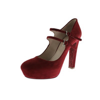 Miu Miu Womens Suede Double Strap Mary Jane Heels