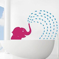 Vinyl Decal Elephant Fountain Shower Water Jet Wall Art Sticker Kids Girl Boy Nursery Living Children's Room Design Bathroom Home Décor Murals M101