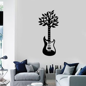 Vinyl Wall Decal Guitar Tree Leaves Music Musical Player Room Decor Art Stickers Mural (ig5560)