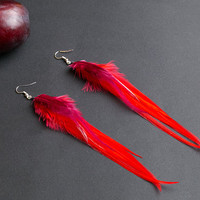 Red feather earrings: long feather earrings, gypsy jewelry, hippie earrings, boho chic, bohemian jewelry, long light earrings, indian.