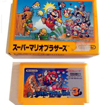 vintage NIB Nintendo Famicom Super Mario Bros 1985 Japan and Super Mario Bros 3 NEs SNEs BoX