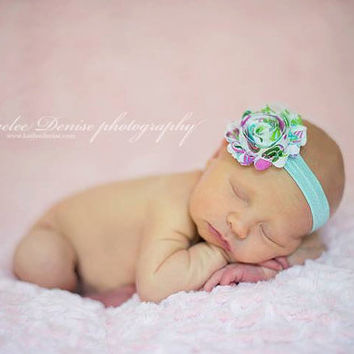 Baby Girl Headband...Flower Headband... Baby Blue Headband...Newborn Headband...Toddler Headband