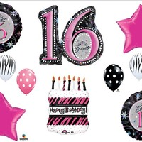 Sweet 16 Sixteen Zebra Cake BIRTHDAY PARTY Balloons Decorations Supplies