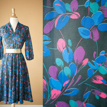 Vintage Black Dress | Day Dress 70s dress 80s dress Floral Print Secretary Dress Midi Skirt V Neck Boho Hippie Retro Full Skirt Circle Skirt