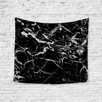 Thunder Marble Black White Trendy Boho Wall Art Home Decor Unique Dorm Room Wall Tapestry Artwork