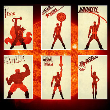 All 6 The Avengers movie posters minimalist poster comic book print comic book art thor